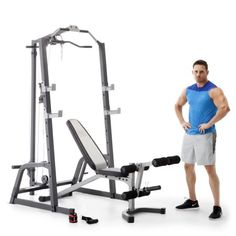 Marcy Home Gym Fitness Deluxe Cage System Machine with Weight Lifting Bench - Works as designed and well built.If you are looking for workout equipment for home Home Gym Exercises, Gym Workouts, At Home Workouts, Gym Exercise Equipment, Home Gym Equipment, Fitness Equipment, Weight Lifting Accessories, Marcy Home Gym, Weight Lifting Motivation