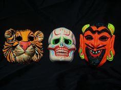 Vintage Halloween Mask, Devil or Tiger,  Plastic, Brittle, Retro, 1950-60 Child Costume