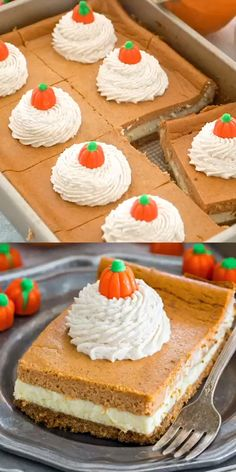 Pumpkin Cheesecake Bars are luxuriously creamy and rich, with lots of pumpkin flavor. Topped with a hefty amount of homemade cinnamon whipped cream. Desserts The Ultimate Pumpkin Cheesecake Bars [VIDEO] - Sweet and Savory Meals Pecan Desserts, Mini Desserts, Holiday Desserts, Holiday Treats, Easy Raspberry Desserts, Holiday Parties, Holiday Cupcakes, Pumpkin Recipes, Fall Recipes