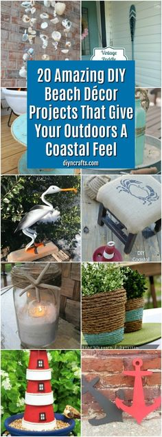 Do you love the beach? Give your home that beachy feel with these 20 Amazing DIY Beach Décor Projects That Give Your Outdoors A Coastal Feel! Outdoor Beach Decor, Beach Patio, Beach Themed Crafts, Beach Crafts, Decor Crafts, Home Crafts, Diy Crafts, Paper Crafts, Arts And Crafts Furniture