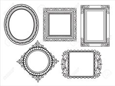 Different kinds of elegant ornate frames in line art style. It contains hi-res JPG, PDF and Illustrator 9 files. Doodle Lettering, Hand Lettering, Picture Wall, Picture Frames, Art Halloween, Cute Frames, Art Area, Diy Projects For Kids, Borders And Frames