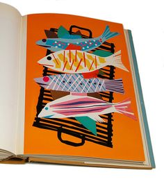 Grilled fish. Penrose Annual, 1958. Inspiration: make fish out of paper? Mount on a painted paper background.
