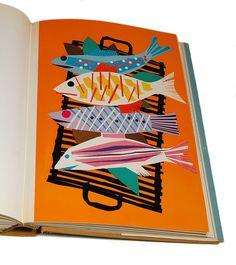 Grilled Fish, Penrose Annual 1958 via uppercaseyyc Art And Illustration, Gravure Illustration, Food Illustrations, Poster Design, Fish Art, Grafik Design, Art Plastique, Elementary Art, Mail Art