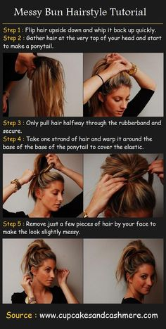 Messy Bun Hairstyle Tutorial by the lovely Emily Schuman <3