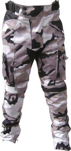 Men Grey Camo Camouflage ARMOURED Motorcycle Motorbike Waterproof Trousers/Pants