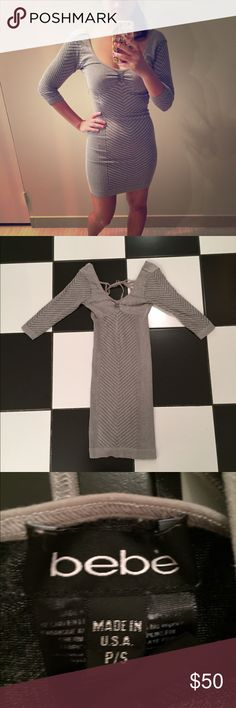 Grey Bebe dress Grey Bebe dress. Gently used in good condition. Please use the offer button and ask all questions before purchasing. No trades. bebe Dresses Mini