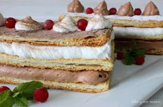 JULIA Y SUS RECETAS: Milhojas de mousse de chocolate y nata Choco Chocolate, Caramel Candy, Homemade Cakes, Desert Recipes, Sweet Recipes, Bakery, Cheesecake, Yummy Food, Sweets