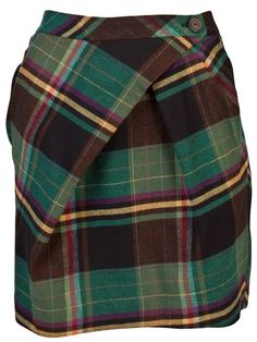 Asymmetrical loud plaid skirt. $370 Anybody got an old blanket to cut up?