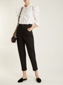Isa Arfen Belted tapered-leg denim cropped trousers