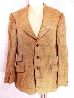 Guardsman Blazer Sz 40 Plaid Wool England Vintage 60s Three Button Suit Coat