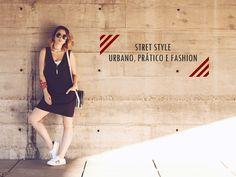 Look Urbano, Prático e Fashion – Tem-que-ter pro verão 2016!   Vestido Preto corte reto, tênis branco, bolsa redonda branca e preta para look relax e minimalista de final de semana. Bracelete bandana
