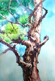 Watercolor Trees, Watercolor Landscape, Watercolor And Ink, Watercolour Painting, Landscape Paintings, Pine Tree Art, Japan Design, Plant Art, Watercolour Tutorials