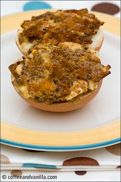 Mushrooms stuffed with hard boiled eggs