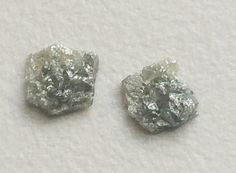 Grey Diamond Slice Matched Pair Grey Rough by gemsforjewels