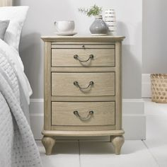 Bentley Designs Bordeaux Chalk Oak Nightstand - 3 Drawer.  Refining a classic form, Bordeaux bedroom brings a sense of subtle sophistication to the bedroom.   #Oakcabinet #Nightstand #bedsidecabinet