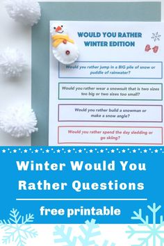 Snow Day! Our winter would you rather questions for kids are a fun game for kids of all ages to play. Silly questions about snowmen, snow forts, sledding and more. #winteractivity #winteractivitiesforkids #wouldyourathergame #wouldyouratherquestions #wouldyouratherquestionsforkids #freeprintable #printablegamesforkids #printablegames
