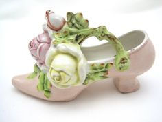 Vintage Porcelain Shoe - Shabby - Cottage Chic