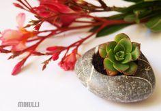 relax gardening  flowerpot  hand engraved beach stone by Mihulli, $20.00