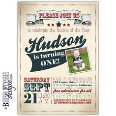 This baseball birthday invitation is sure to hit a home run with your All Star guests. Invite them to the cutest and newest Rookie of the Year bash with a vintage baseball birthday party invite.Choose either to purchase the: Baseball Birthday Invitations, Baseball First Birthday, Baby Birthday, Sports Birthday, Birthday Bash, Baseball Party Decorations, Birthday Party Decorations, Vintage Invitations, Invites
