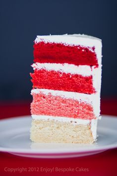 Red ombre cake.  Vanilla cake with buttercream frosting.
