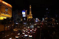 The Las Vegas strip over Las vegas Boulevard.