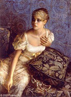Stanislav Plutenko (Russian: 1961) - Secretly Trying on Jewelry (2002) http://es.pinterest.com/hermitusa/art-stanislav-plutenko/