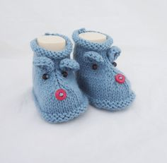 Mouse booties Cute Baby Booties Blue Booties Hand by evefashion