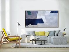 Handmade Original Horizontal Wall Art, Abstract Art Canvas Painting, Large Art. By Biao, Gray, blue, green- By Biao, Celine Ziang Art
