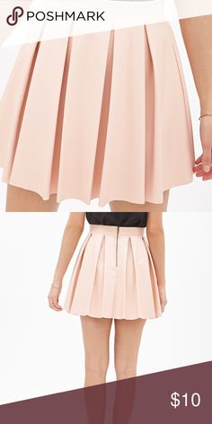 Forever 21 Pink pleated faux leather skirt M Brand new with tags. faux leather skater skirt from forever 21 in a light pink color. Size medium. Forever 21 Skirts Circle & Skater