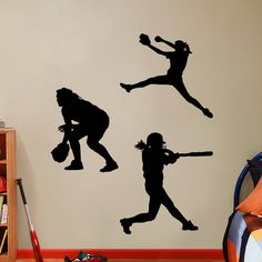 Set of 3 Softball Players Girls  - Sports Vinyl Wall Decals Stickers Graphics on Etsy, $12.00