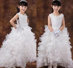 Sweet Lace White/champagne Litte Girl Ball Gown Princess Styles Fluffy Cascading Ruffles Organza Flower Girl Dresses For Weddings Party HC from Engerlaa,$81.68 | DHgate.com