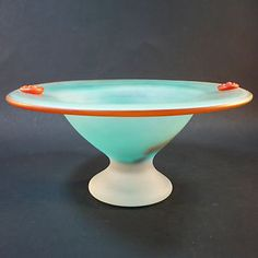 Murano Glas Schale • Fußschale • Überfangglas • fein satiniert