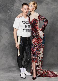Gigi Hadid and Jeremy Scott backstage at the Moschino show