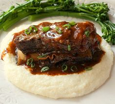 Braised Beef Short Ribs with Cheesy Horseradish Grits and Sweet and Sour Porter Sauce