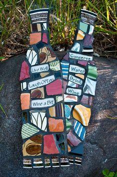 Custom Mosaic Wine Bottle Wall Art with Whimsical Message MADE TO ORDER & Custom Mosaic Wine Bottle Wall Art with Whimsical Message MADE TO ...