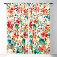Red Turquoise Teal Floral Watercolor Blackout Window Curtains & Drapes by Junkydotcom - x - Set of Two Pillows And Throws, Red Curtains, Blackout Curtains, Printed Shower Curtain, Drapes Curtains, Curtains, Blackout Windows, Window Curtains, Candlelight