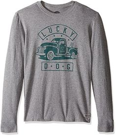 Life is good Mens Lucky Dog Truck Crusher Long Sleeve Tee Heather Gray XXLarge >>> Check this awesome product by going to the link at the image.