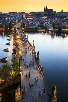 Prague, view from Charles Bridge facing Prague Castle