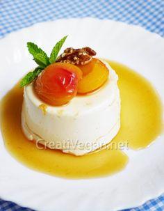 vegan mascarpone with apricots and  sauce mistela