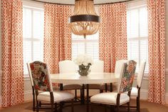 Orange Curtains - Schumacher by Kelly Wearstler - Imperial Trellis in Mandarin Dining Room Curtains, Bay Window Curtains, Dining Room Windows, Upholstered Dining Chairs, Dining Rooms, Bay Windows, Window Panels, Dining Table, Dining Area