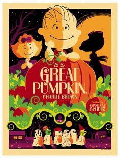 Peanuts: Great Pumpkin Variant by Tom Whalen in Colorful Vector Posters by Tom Whalen