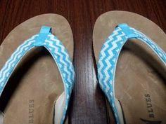 Turquoise Chevron-  Women's Needlepoint Flip Flops baldheadblues.com