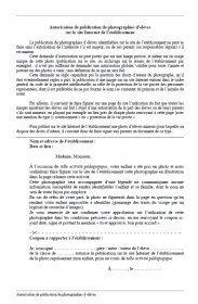 Un formulaire de demande d'autorisation de publication de photo sur le site Internet de l'école.