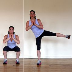 Lower Body: Basic Squat With Side Leg Lift:  Stand with your feet shoulder-width apart, feet parallel. Hold your hands out in front of you for balance. Bend your knees, lowering your hips deeply so your thighs are parallel with the floor, keeping weight back in your heels. Then rise back up, straightening the legs completely and lifting the left leg out to the side, squeezing the outer glute.