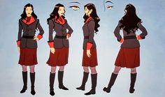 Asami Sato (Legend of Korra) Character Model Sheet, Character Modeling, Character Concept, Concept Art, Avatar Cosplay, Avatar Cartoon, Avatar Aang, Avatar The Last Airbender, Team Avatar