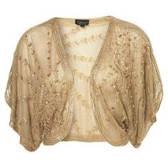 TOPSHOP Iconic Beaded Antique Gold Sequin Vtg 20s Cardigan Shrug Bolero Jacket L