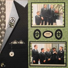 Scrapbook Page - The Groom - LHP of a 2 page wedding layout - The Pocket Watch & Chain are from Cricut Old West - from Wedding Album 4