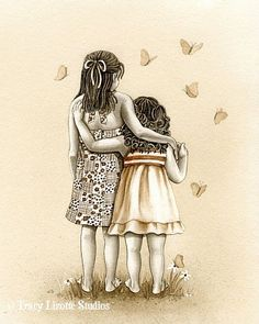 Butterflies - archival watercolor print by Tracy Lizotte Sister Love, To My Daughter, Daughters, Illustrations, Illustration Art, Creation Photo, Watercolor Print, Little Sisters, Amazing Art