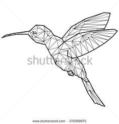 hummingbird origami (geometric style). colibri illustration of a many triangles.