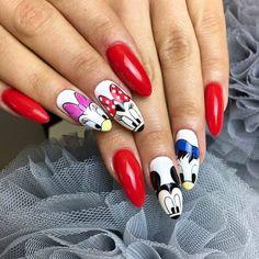 Cartoons & Fireman Gel Polish by Indigo Nails Disney Gel Nails, Mickey Nails, Best Acrylic Nails, Gel Nail Art, Disneyland Nails, Dream Catcher Nails, Deco Disney, Valentine Nail Art, Indigo Nails